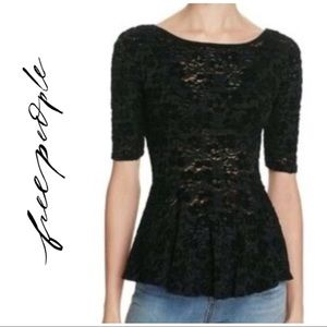 Free People Black Short Sleeve Peplum Top Small S